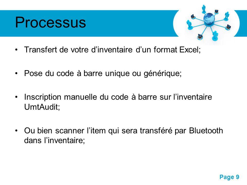 Processus Transfert de votre d'inventaire d'un format Excel;