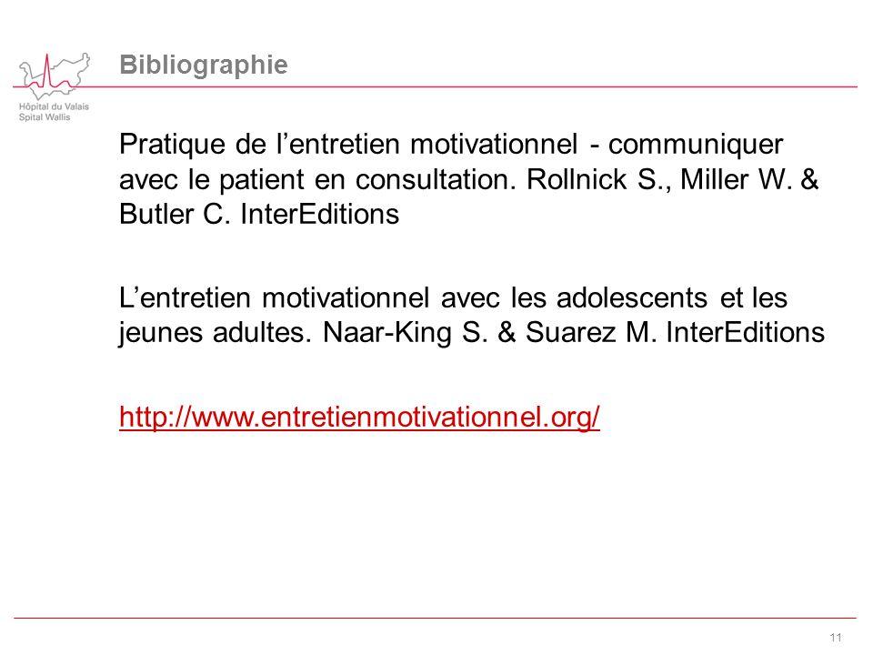 Bibliographie Pratique de l'entretien motivationnel - communiquer avec le patient en consultation. Rollnick S., Miller W. & Butler C. InterEditions.