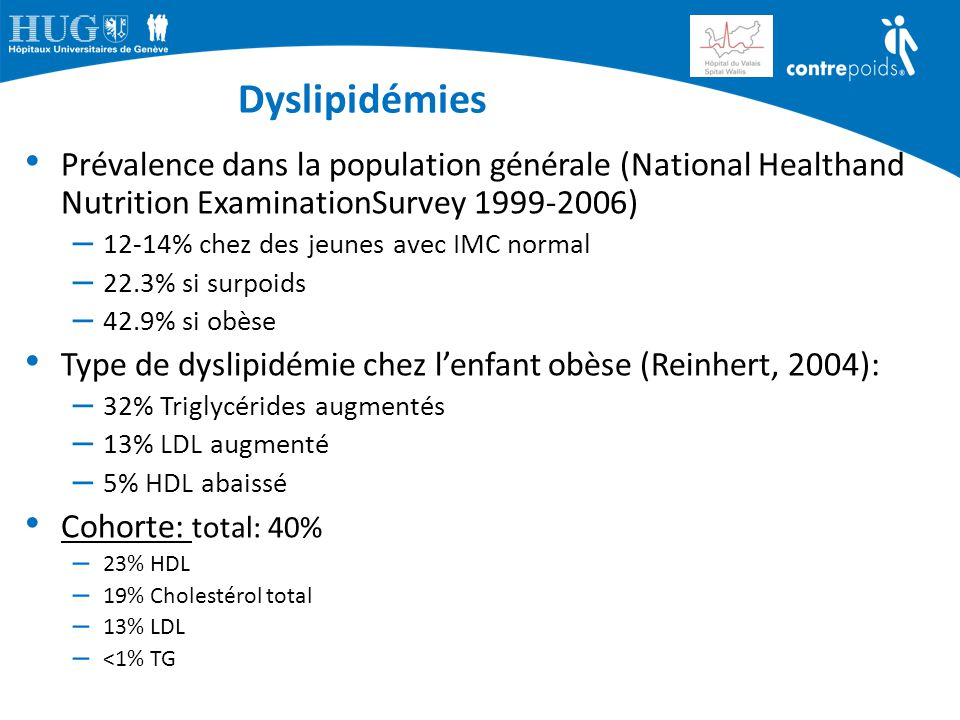 Dyslipidémies Prévalence dans la population générale (National Healthand Nutrition ExaminationSurvey 1999-2006)