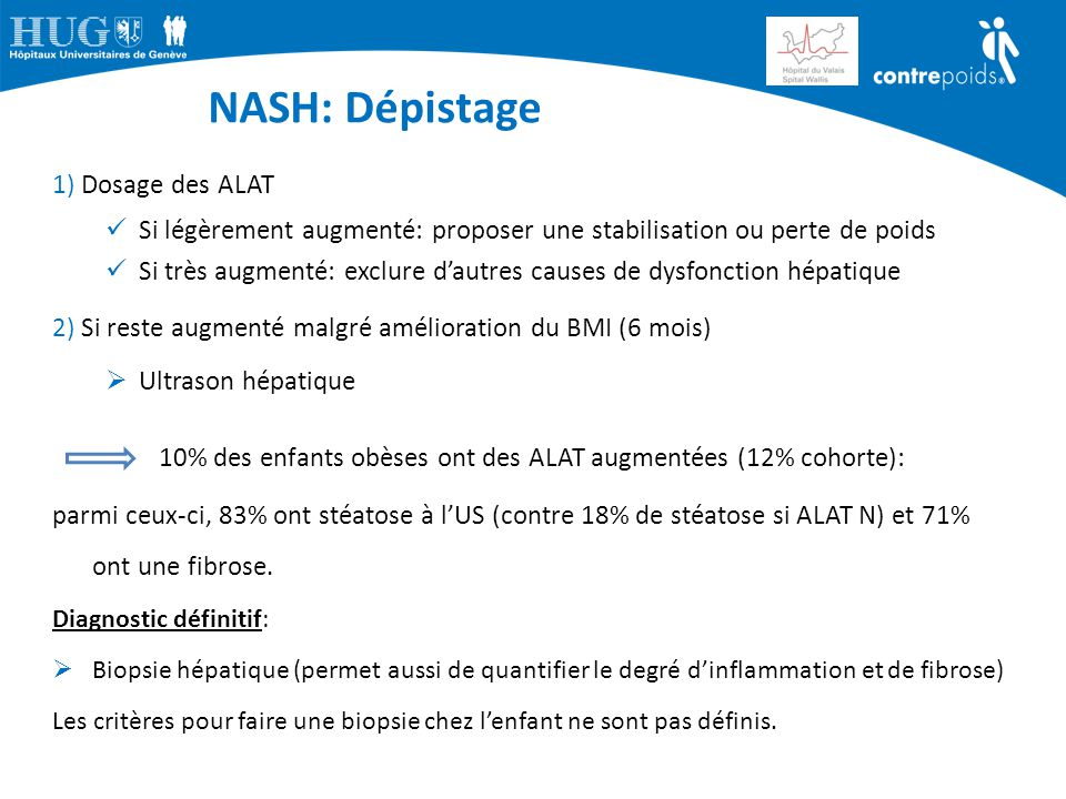 NASH: Dépistage 1) Dosage des ALAT