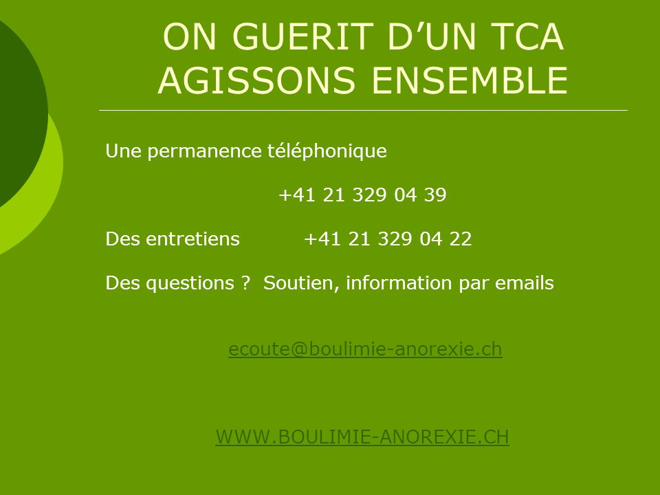 ON GUERIT D'UN TCA AGISSONS ENSEMBLE