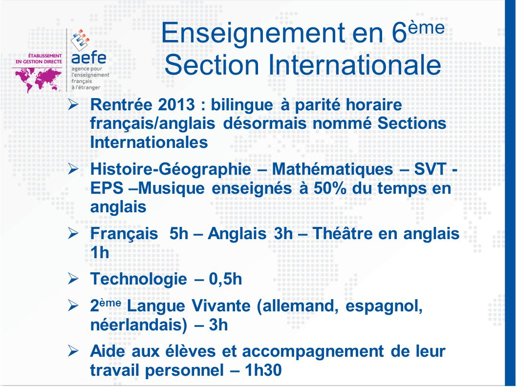 Enseignement en 6ème Section Internationale