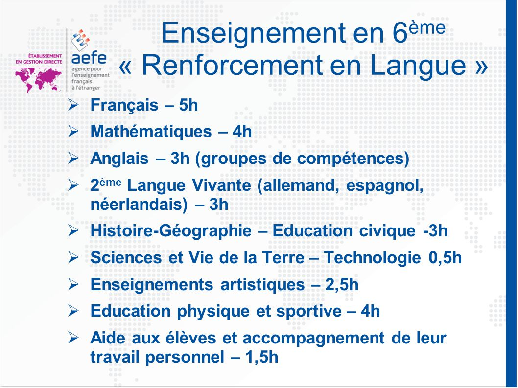 Enseignement en 6ème « Renforcement en Langue »