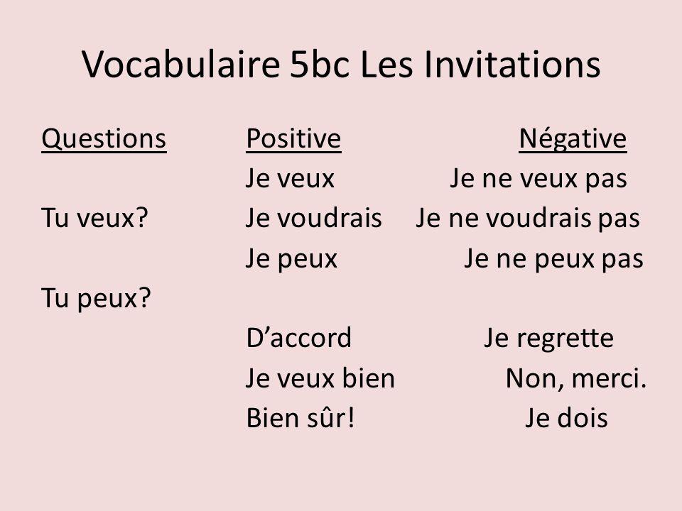 Vocabulaire 5bc Les Invitations