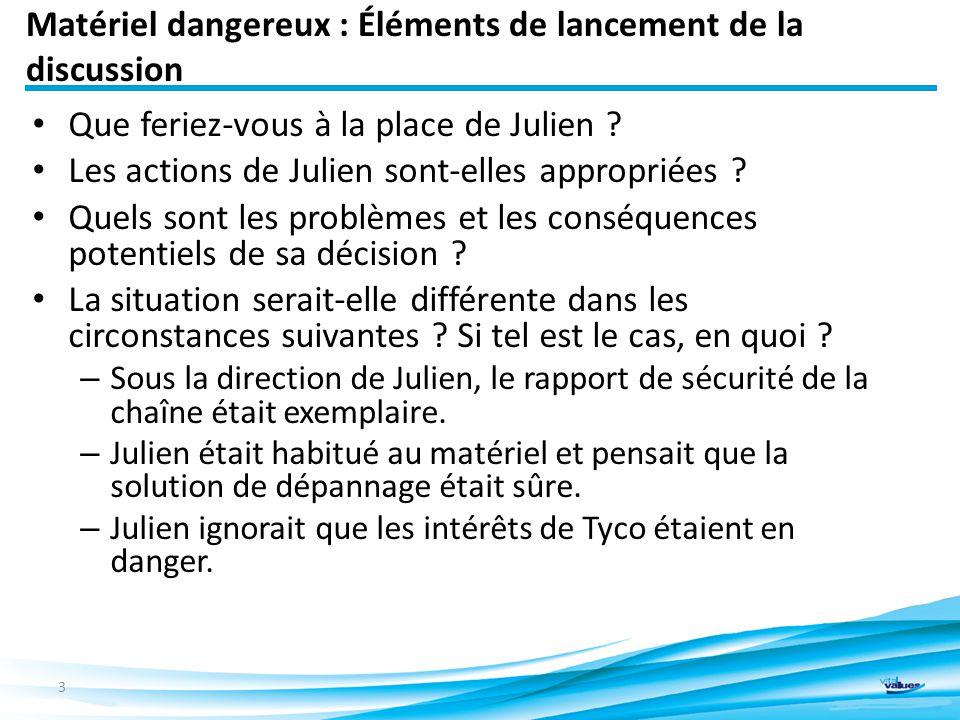 Matériel dangereux : Éléments de lancement de la discussion