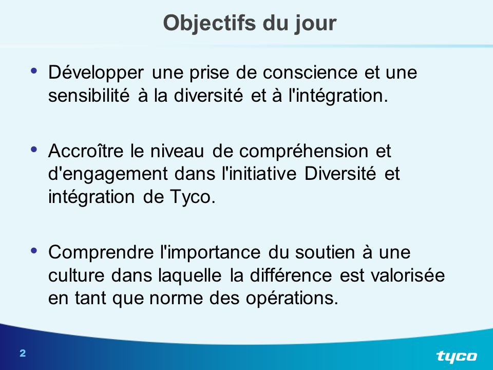 Mission Diversité et intégration de TYCO International