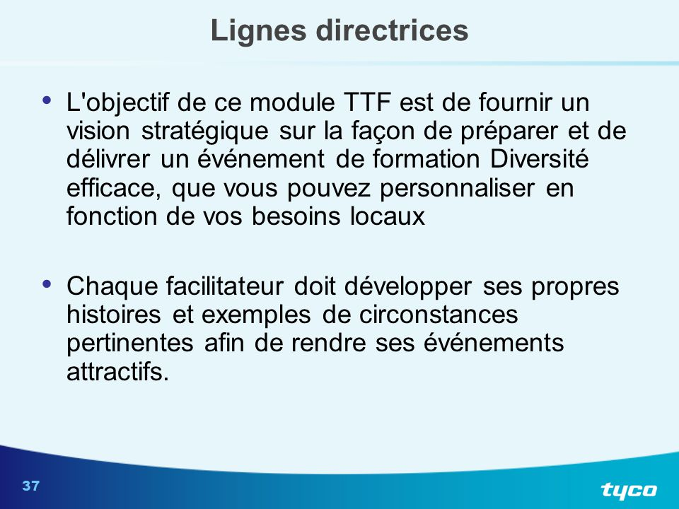 Hypothèses Tous les facilitateurs ont suivi une formation Diversité en tant que participant.