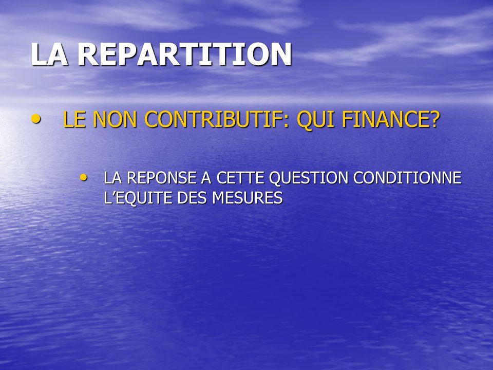 LA REPARTITION LE NON CONTRIBUTIF: QUI FINANCE
