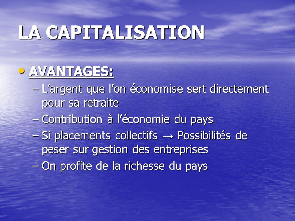 LA CAPITALISATION AVANTAGES: