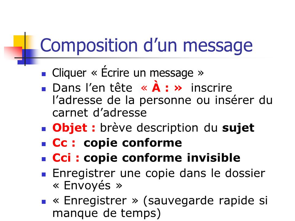 Composition d'un message