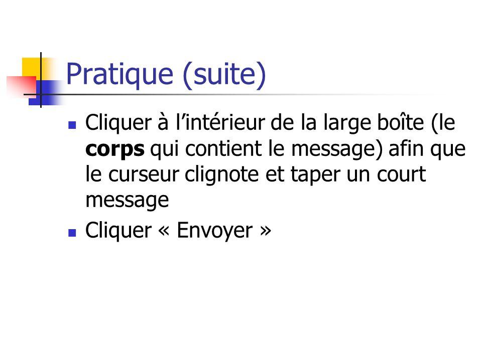 Pratique (suite) Cliquer à l'intérieur de la large boîte (le corps qui contient le message) afin que le curseur clignote et taper un court message.
