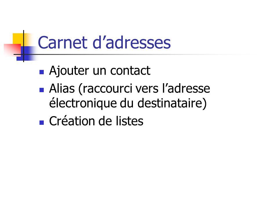 Carnet d'adresses Ajouter un contact