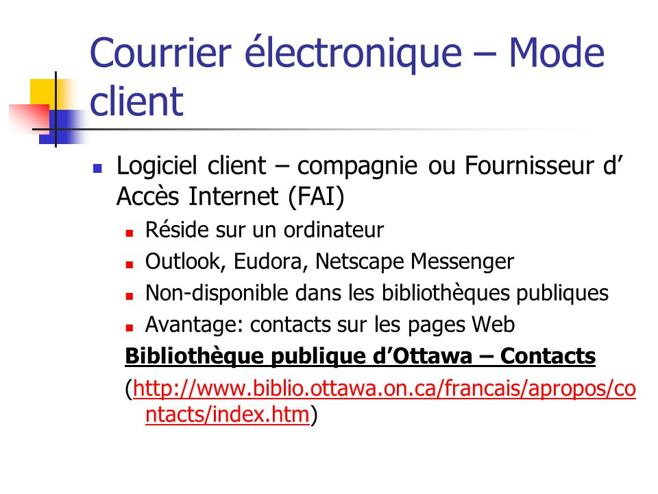 Courrier électronique – Mode client
