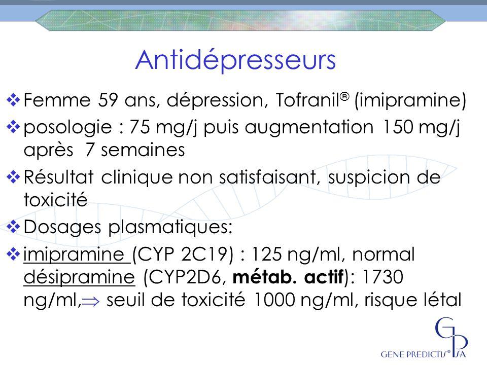 Antidépresseurs Femme 59 ans, dépression, Tofranil® (imipramine)
