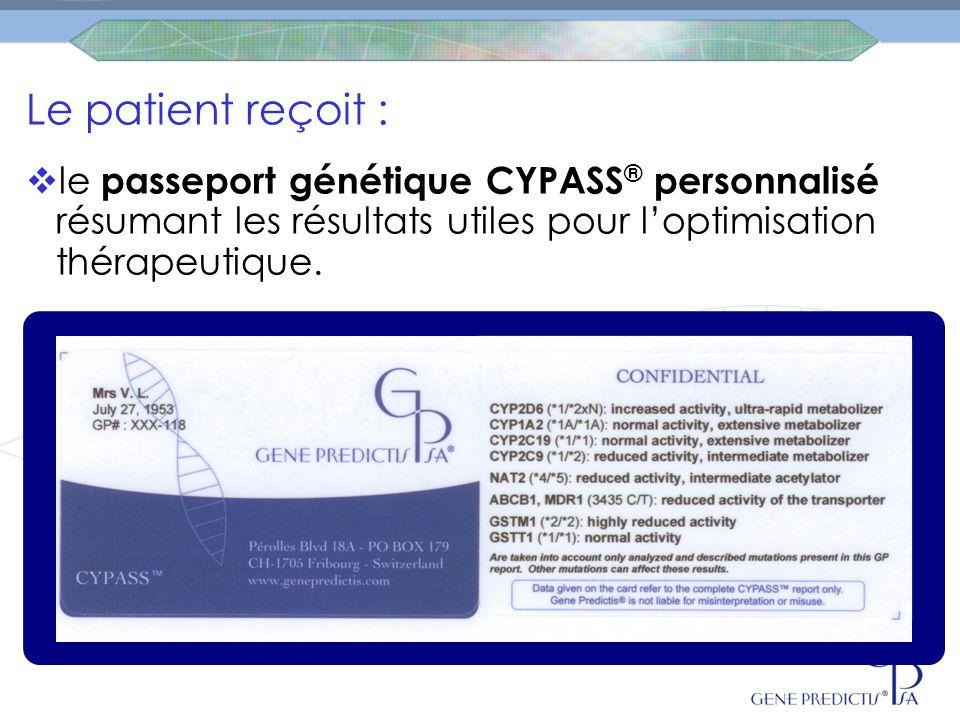 Le patient reçoit : le passeport génétique CYPASS® personnalisé résumant les résultats utiles pour l'optimisation thérapeutique.