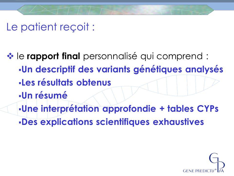 Le patient reçoit : le rapport final personnalisé qui comprend :