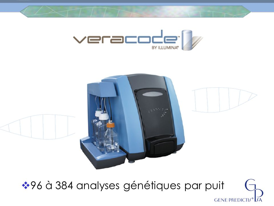 96 à 384 analyses génétiques par puit