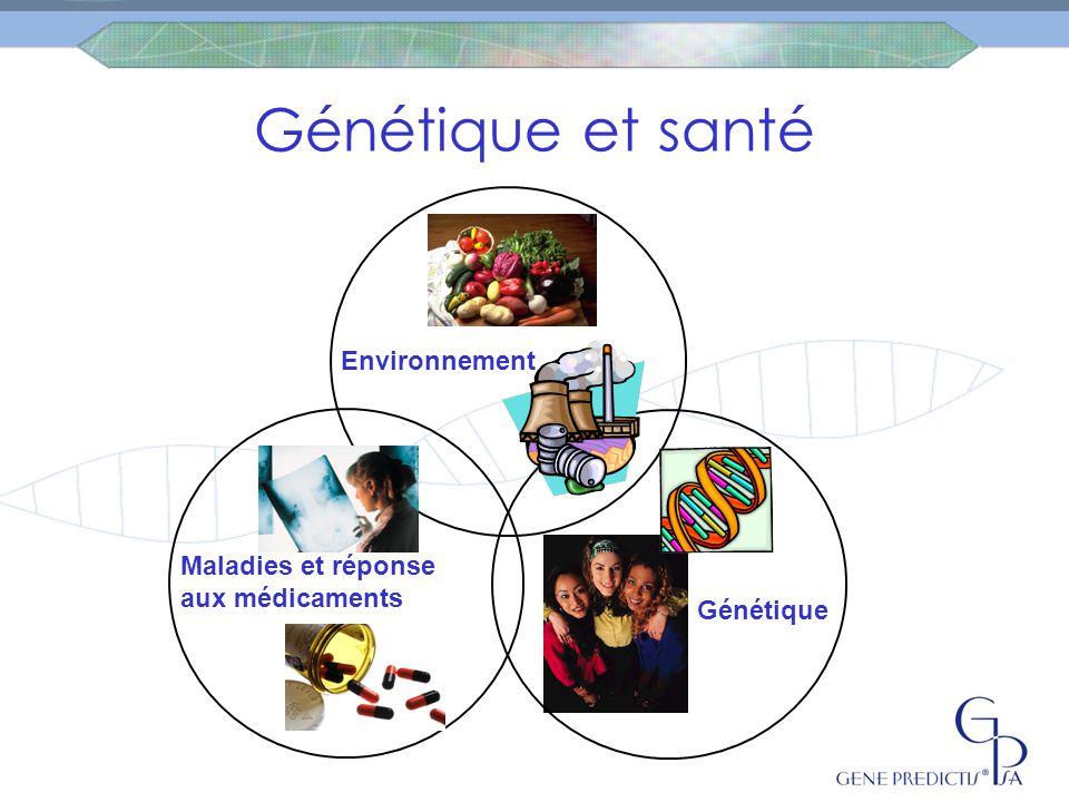 Génétique et santé Environnement Maladies et réponse aux médicaments