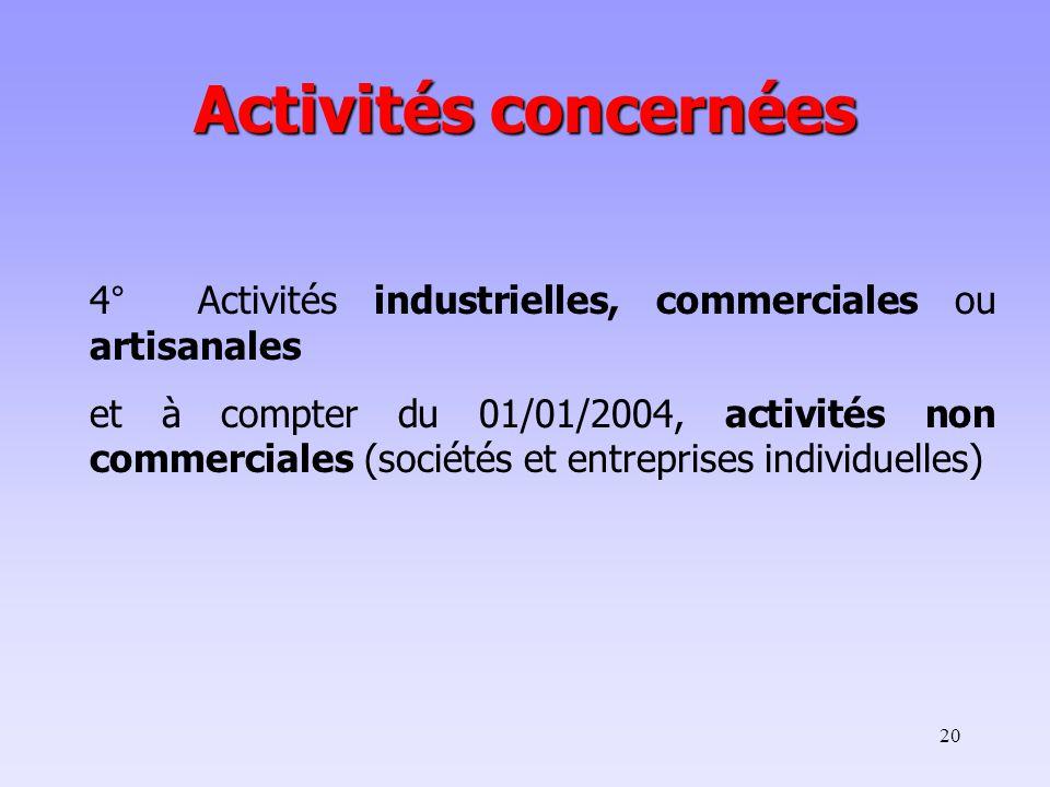 Activités concernées 4° Activités industrielles, commerciales ou artisanales.