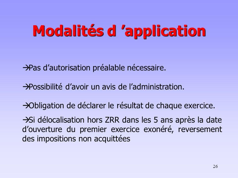 Modalités d 'application