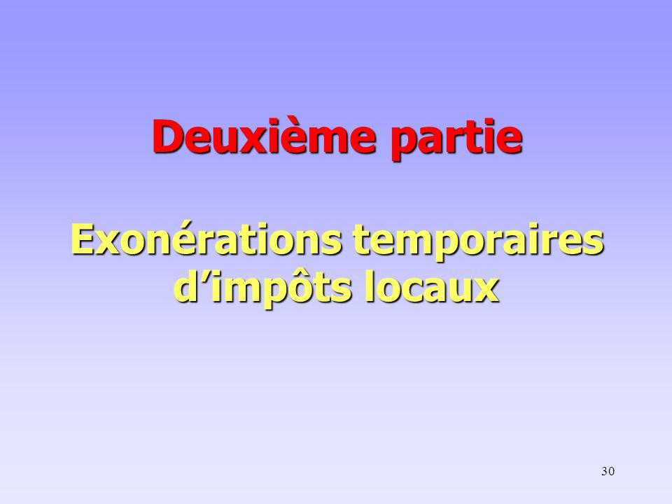 Deuxième partie Exonérations temporaires d'impôts locaux