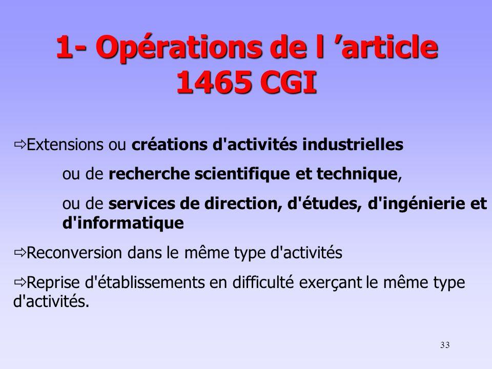 1- Opérations de l 'article 1465 CGI