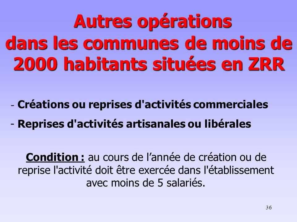 Autres opérations dans les communes de moins de 2000 habitants situées en ZRR