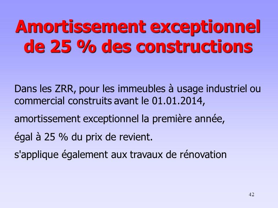 Amortissement exceptionnel de 25 % des constructions