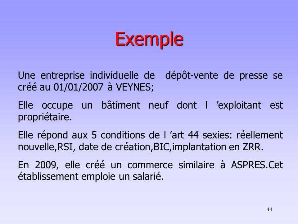 Exemple Une entreprise individuelle de dépôt-vente de presse se créé au 01/01/2007 à VEYNES;