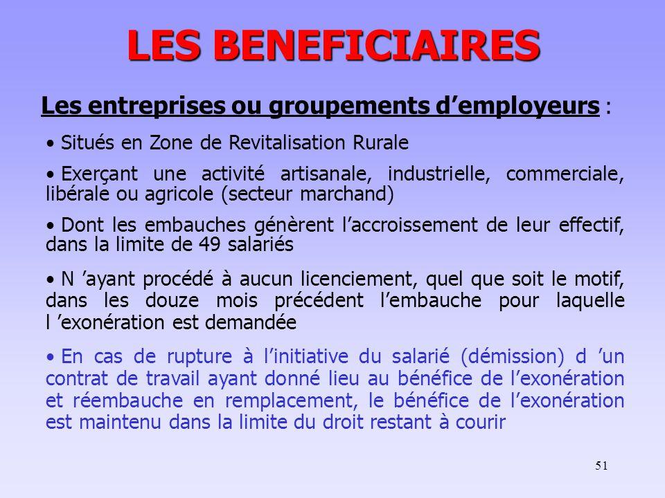 LES BENEFICIAIRES Les entreprises ou groupements d'employeurs :