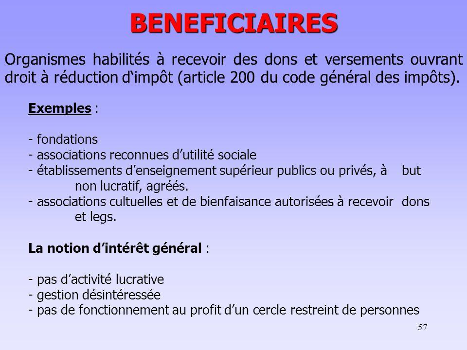 BENEFICIAIRES Organismes habilités à recevoir des dons et versements ouvrant droit à réduction d'impôt (article 200 du code général des impôts).