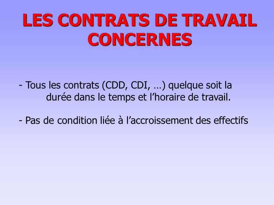 LES CONTRATS DE TRAVAIL CONCERNES