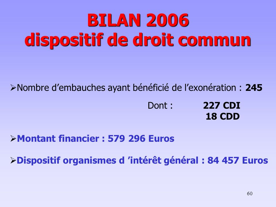 BILAN 2006 dispositif de droit commun
