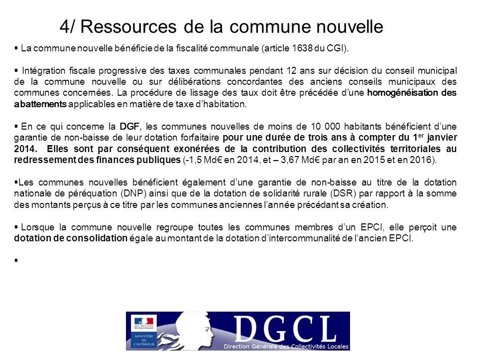 4/ Ressources de la commune nouvelle