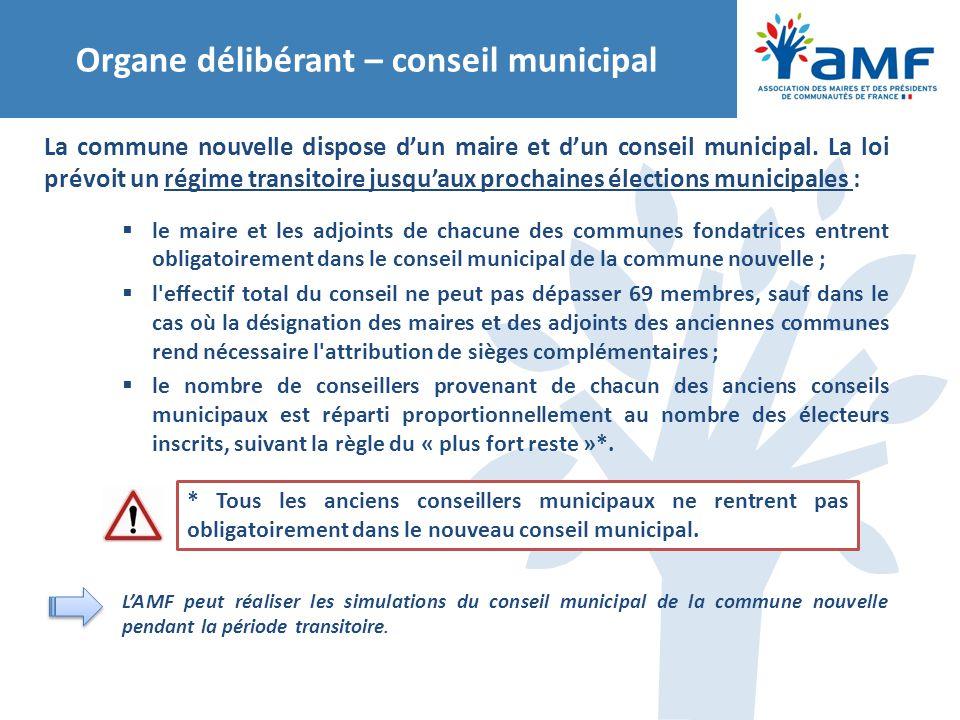 Organe délibérant – conseil municipal