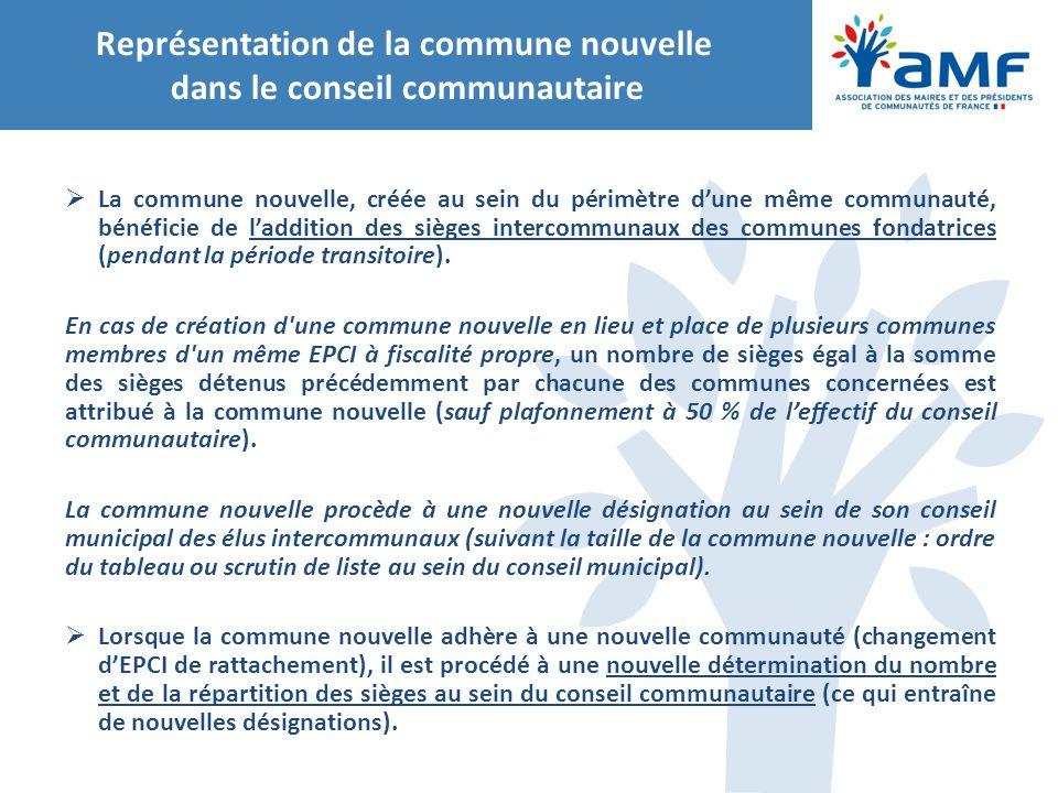 Représentation de la commune nouvelle dans le conseil communautaire
