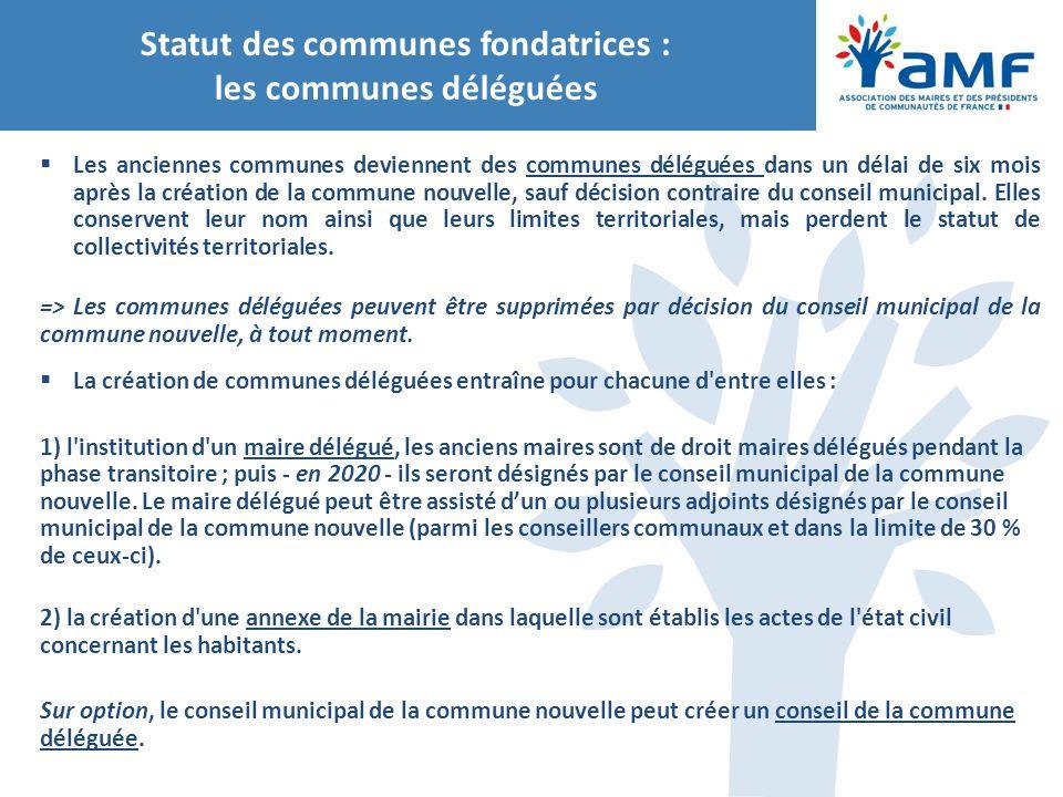 Statut des communes fondatrices : les communes déléguées