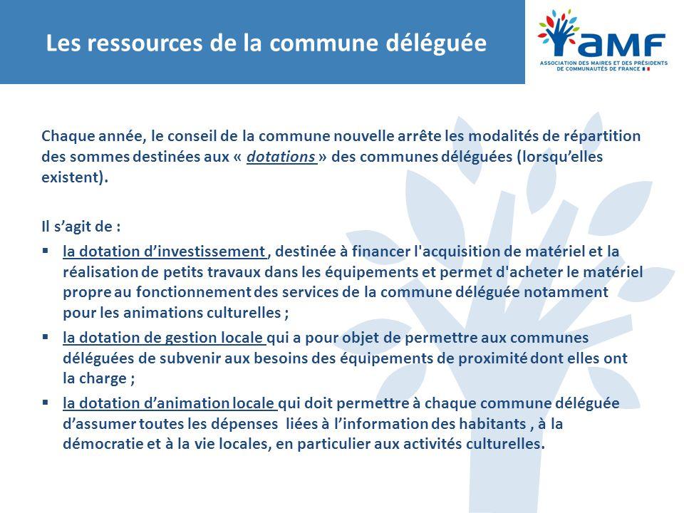 Les ressources de la commune déléguée