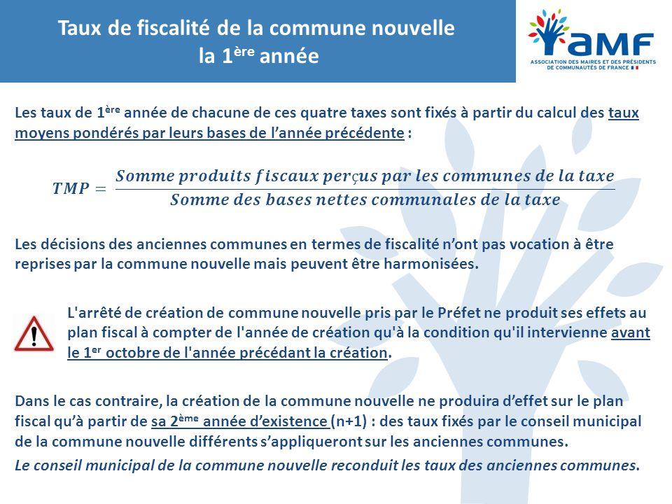 Taux de fiscalité de la commune nouvelle la 1ère année
