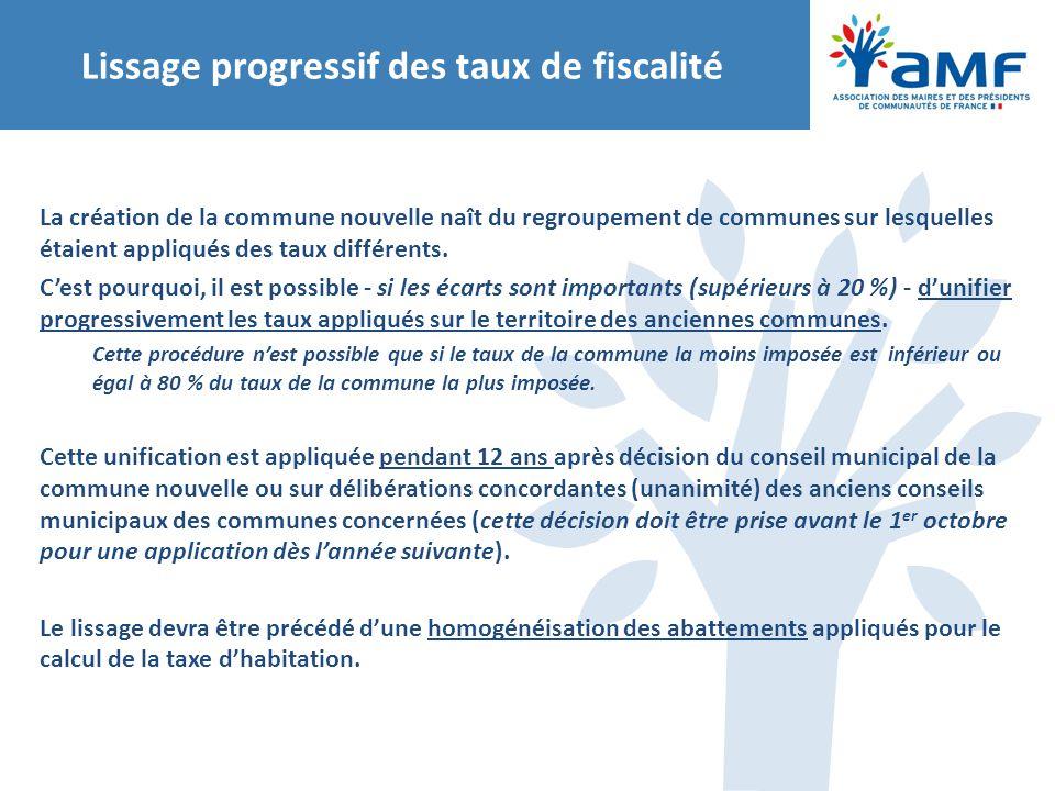 Lissage progressif des taux de fiscalité