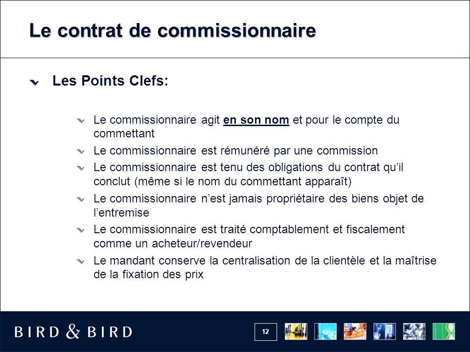 Le contrat de commissionnaire