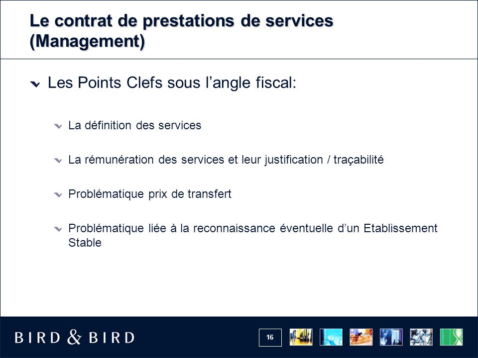 Le contrat de prestations de services (Management)