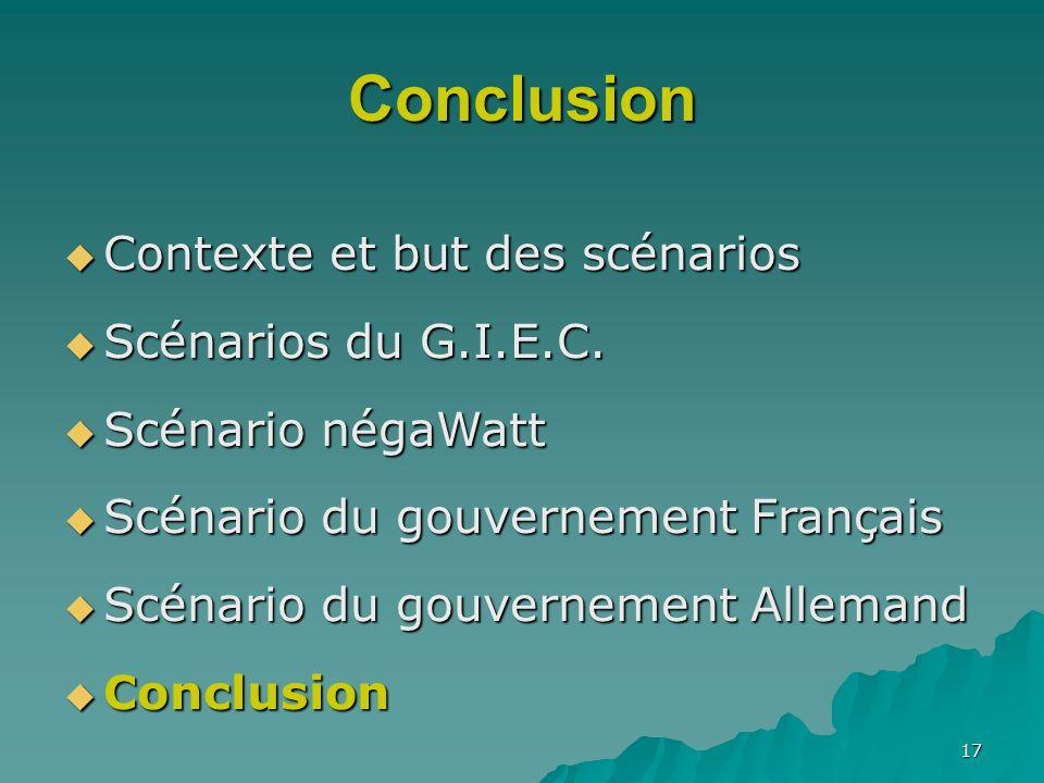 Conclusion Contexte et but des scénarios Scénarios du G.I.E.C.