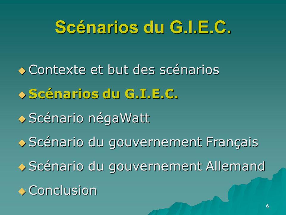 Scénarios du G.I.E.C. Contexte et but des scénarios
