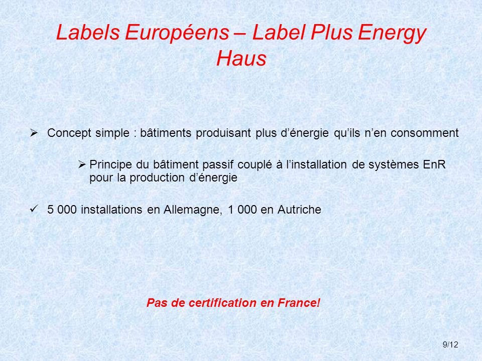 Labels Européens – Label Plus Energy Haus