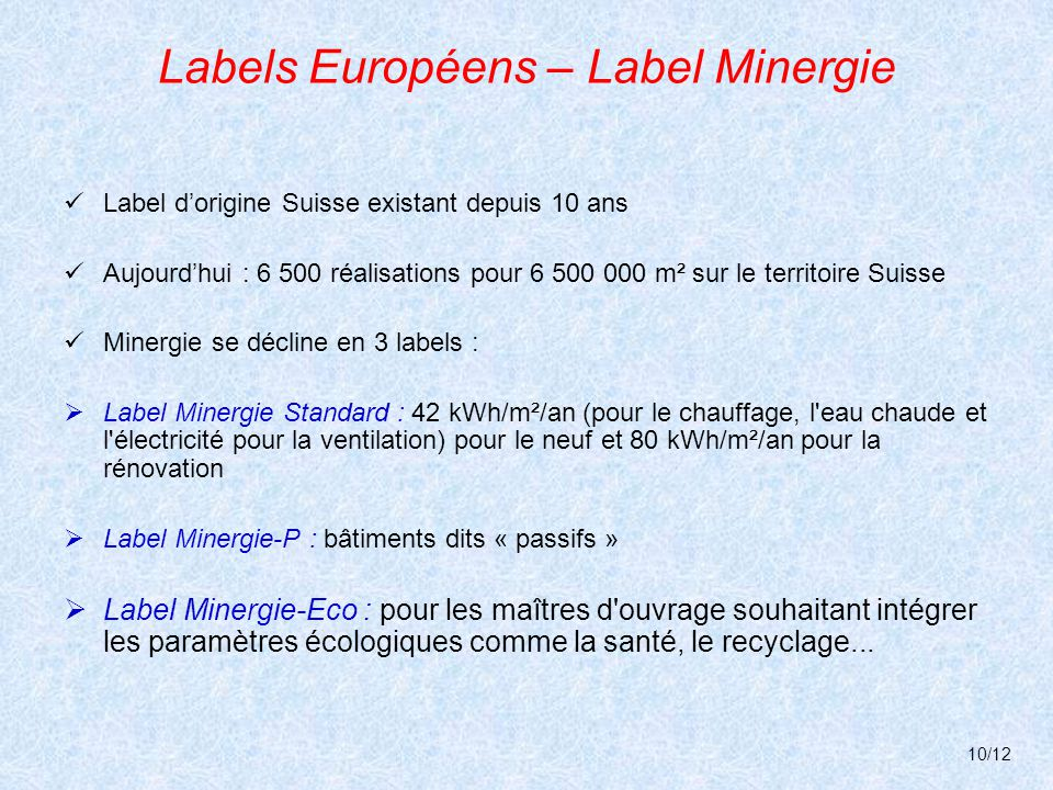 Labels Européens – Label Minergie