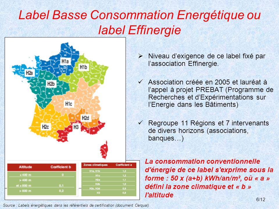 Label Basse Consommation Energétique ou label Effinergie
