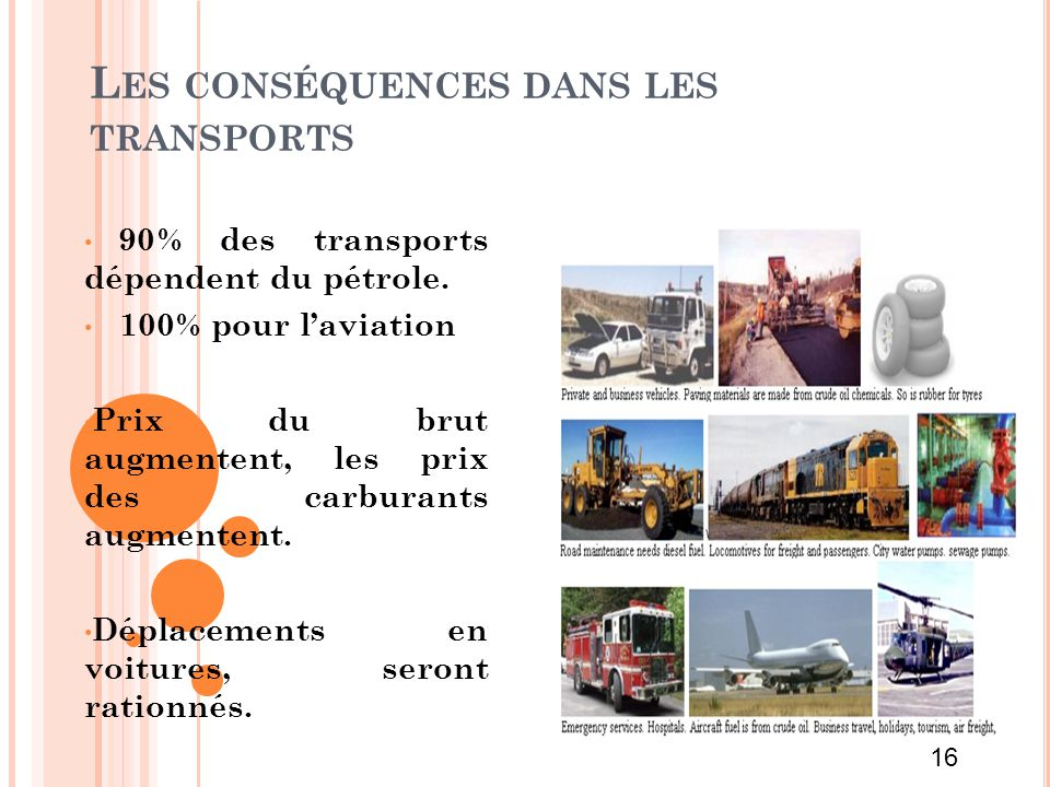 Les conséquences dans les transports
