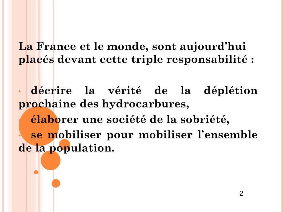 décrire la vérité de la déplétion prochaine des hydrocarbures,