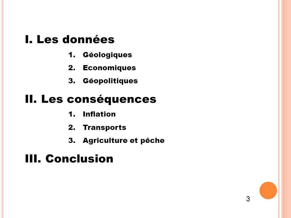 I. Les données II. Les conséquences III. Conclusion Géologiques